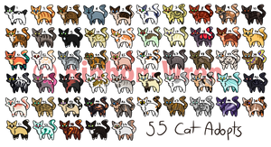 55 Cheap Cat Adopts [OPEN] by RibbonWren-Adopts