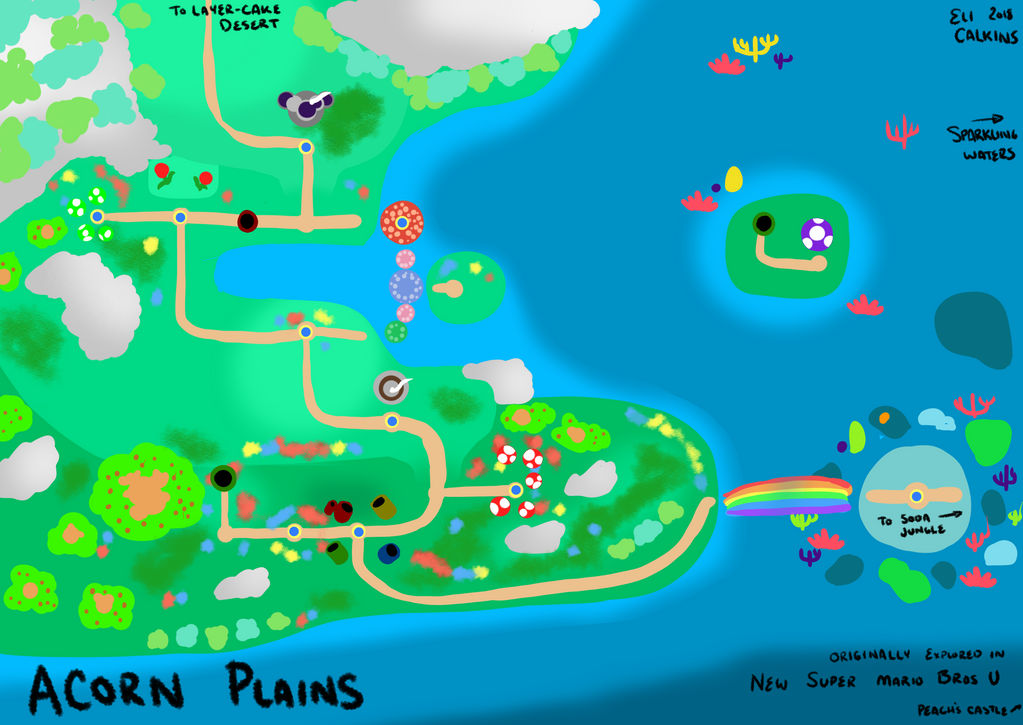 New Super Mario Bros U: Acorn Plains Map by Lunalutra on ...