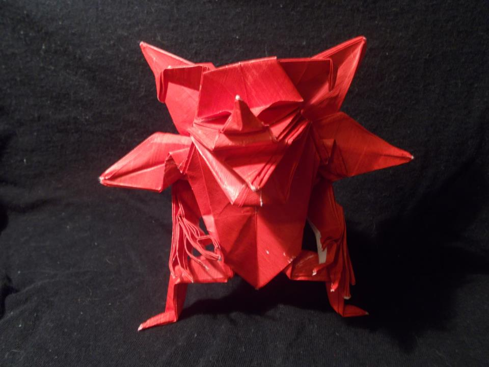 Origami devil created by Jun Maekawa. Folded by me by OrigamiFolder13