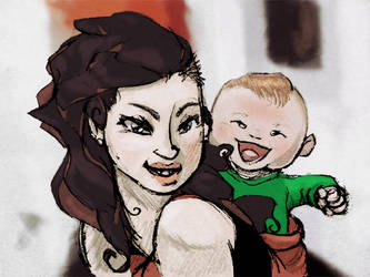My sister and her little baby by Argema-Brassingtonei