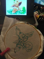 Leafeon and Eevee finished drawing up.