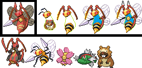 Sprite with 5 of my least favorite PKMN by OmegaCrafter17