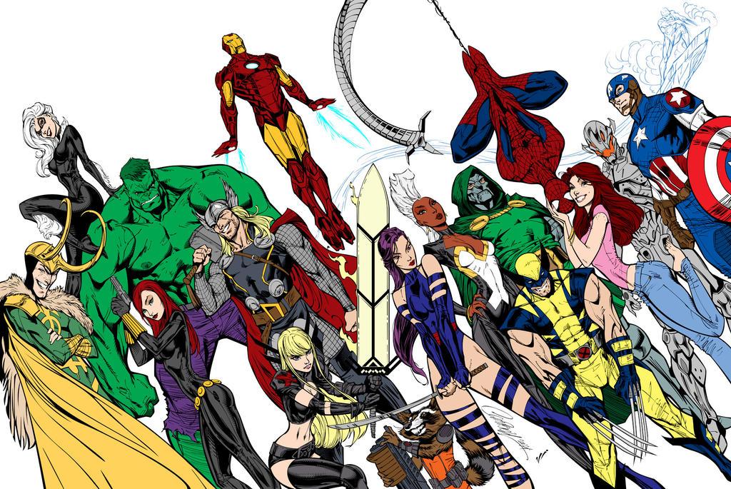 Avengers By J  Scott Campbell and Leovitalis by Kenkira