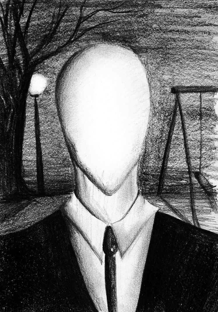 how to draw slenderman face