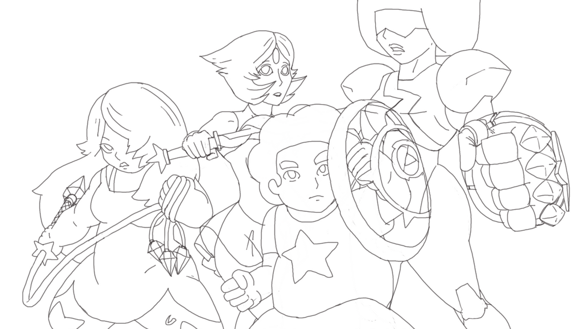 Line Art Universe : Steven universe rough line art with by kmoua on
