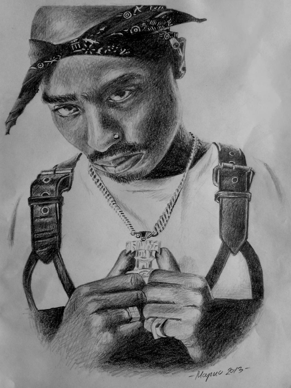 Tupac Shakur Drawing by MarokoTasevski on DeviantArt