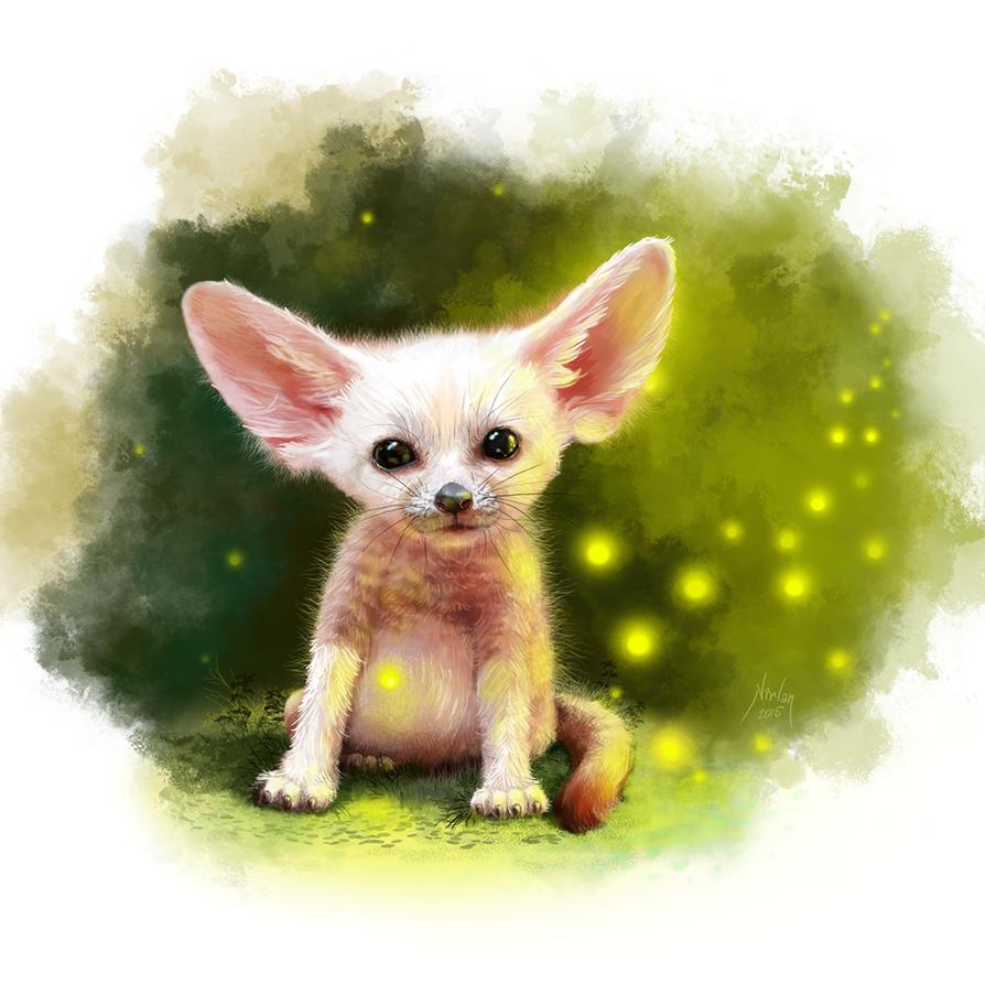 Desert Fennec Fox and Fireflies by natalia-virlan