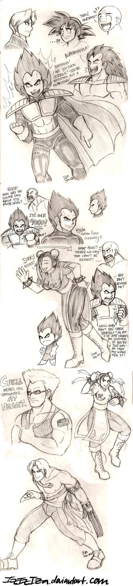 DBZ and Street Fighter Sketchderp by IzIzIza