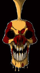 Red Skull Paint in gold by igeking