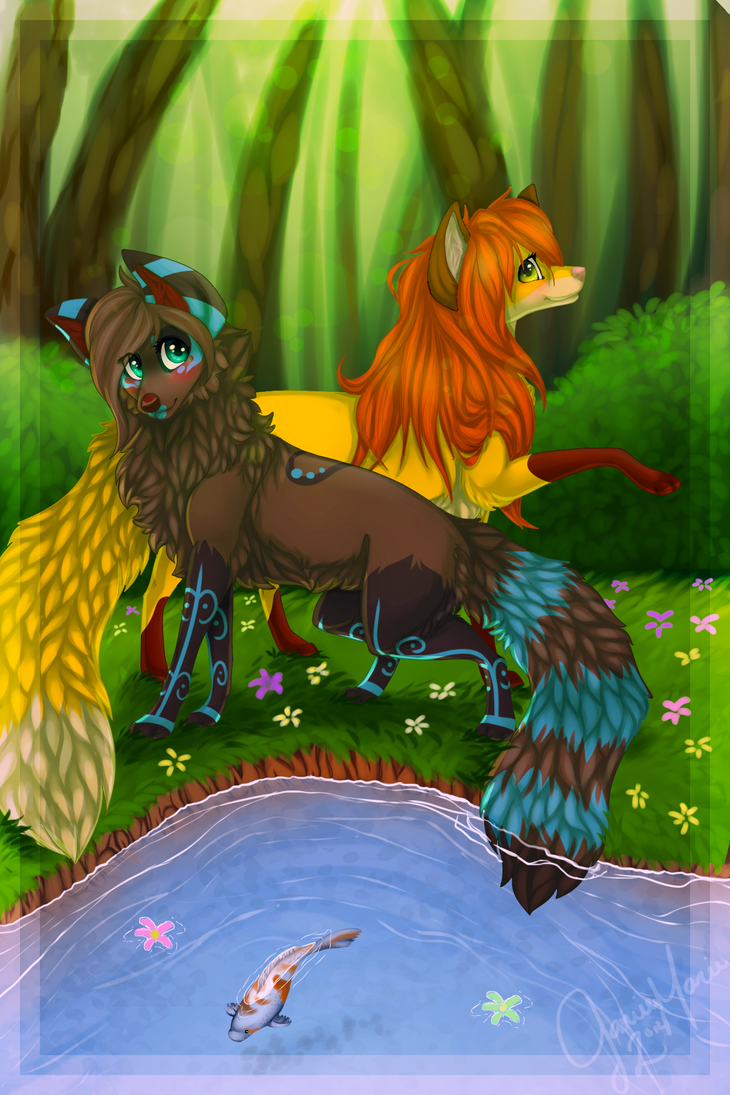 Two Foxes by LittleRavine