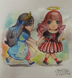 2 girl (?) in Halloween day ^ ^