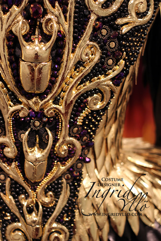 Close up of costume for the Queens Gallery