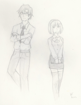 Kotori and Broducer - school doodle