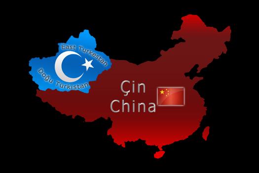 Flag map of East Turkestan