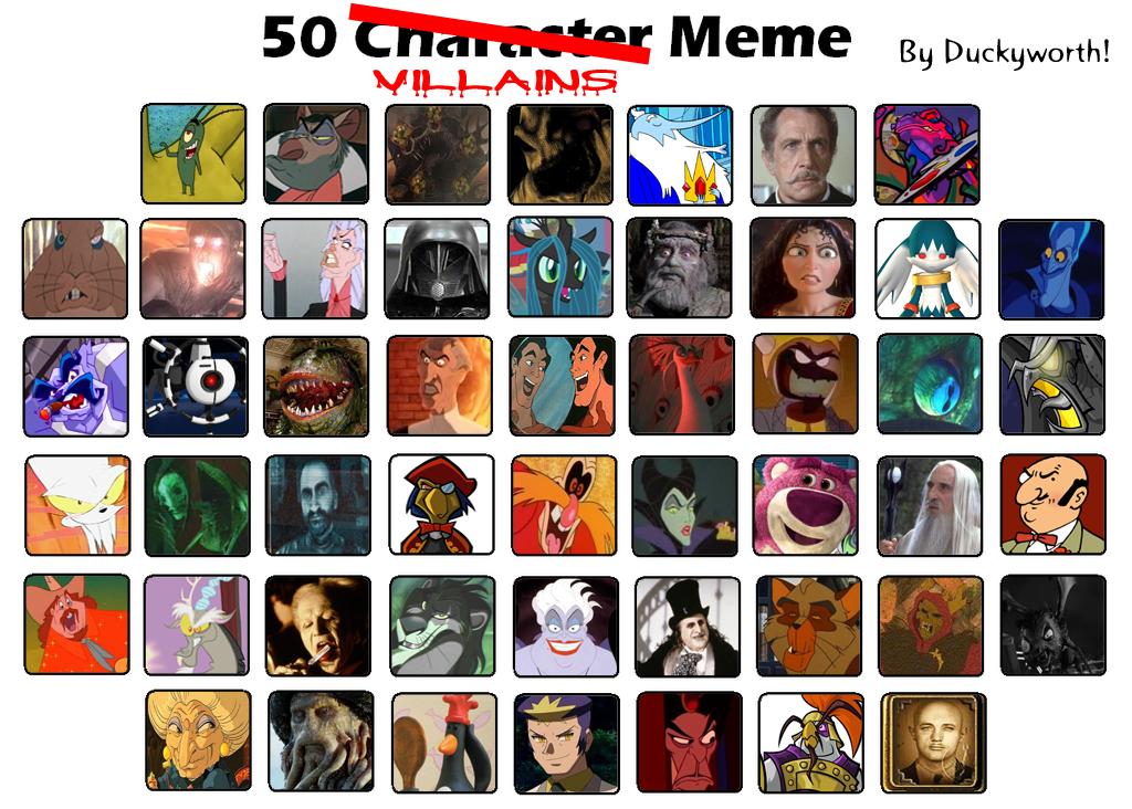 50 Villains Meme by Duckyworth