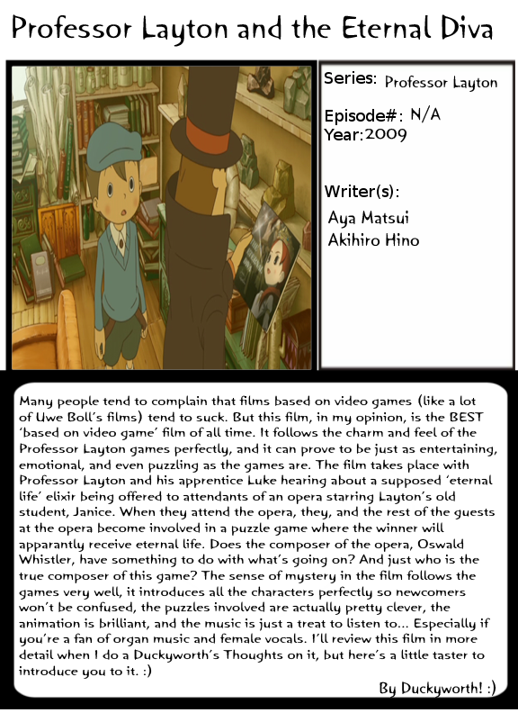 Movie review: Professor Layton and the Eternal Diva ...