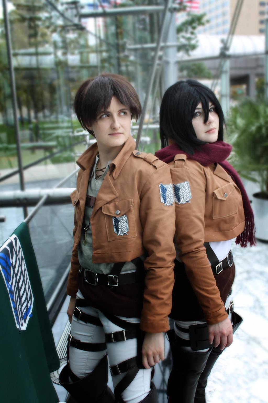 Eren Jaeger, Mikasa Ackerman by august-fehrmont on DeviantArt