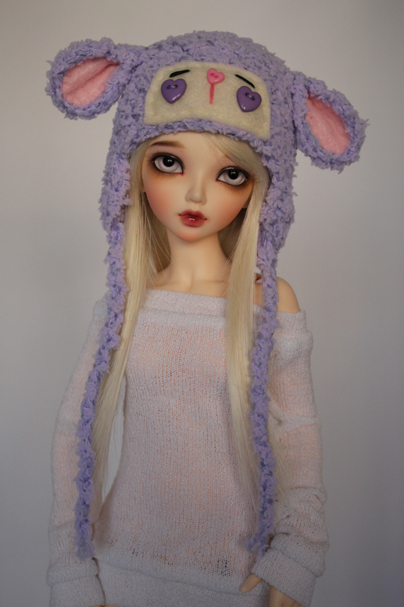 Purple Lamb Hat for Minifee BJD by guppykisses