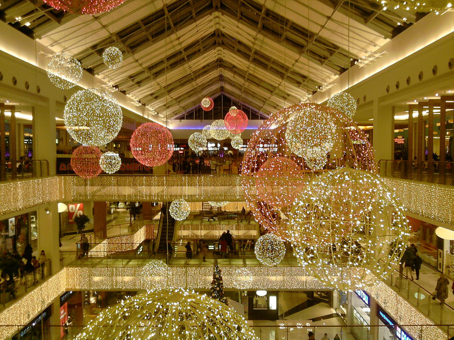 Christmas decorated mall by keisuperstar on for Retail christmas decorations ideas