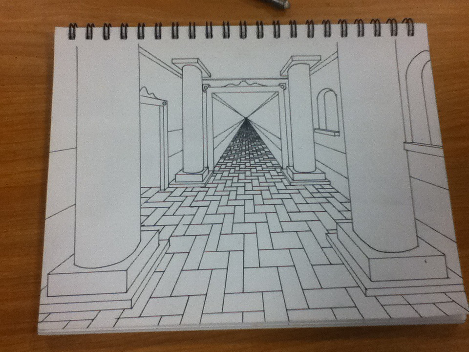 Line Drawing Net : One point perspective line drawing by melonfly on deviantart