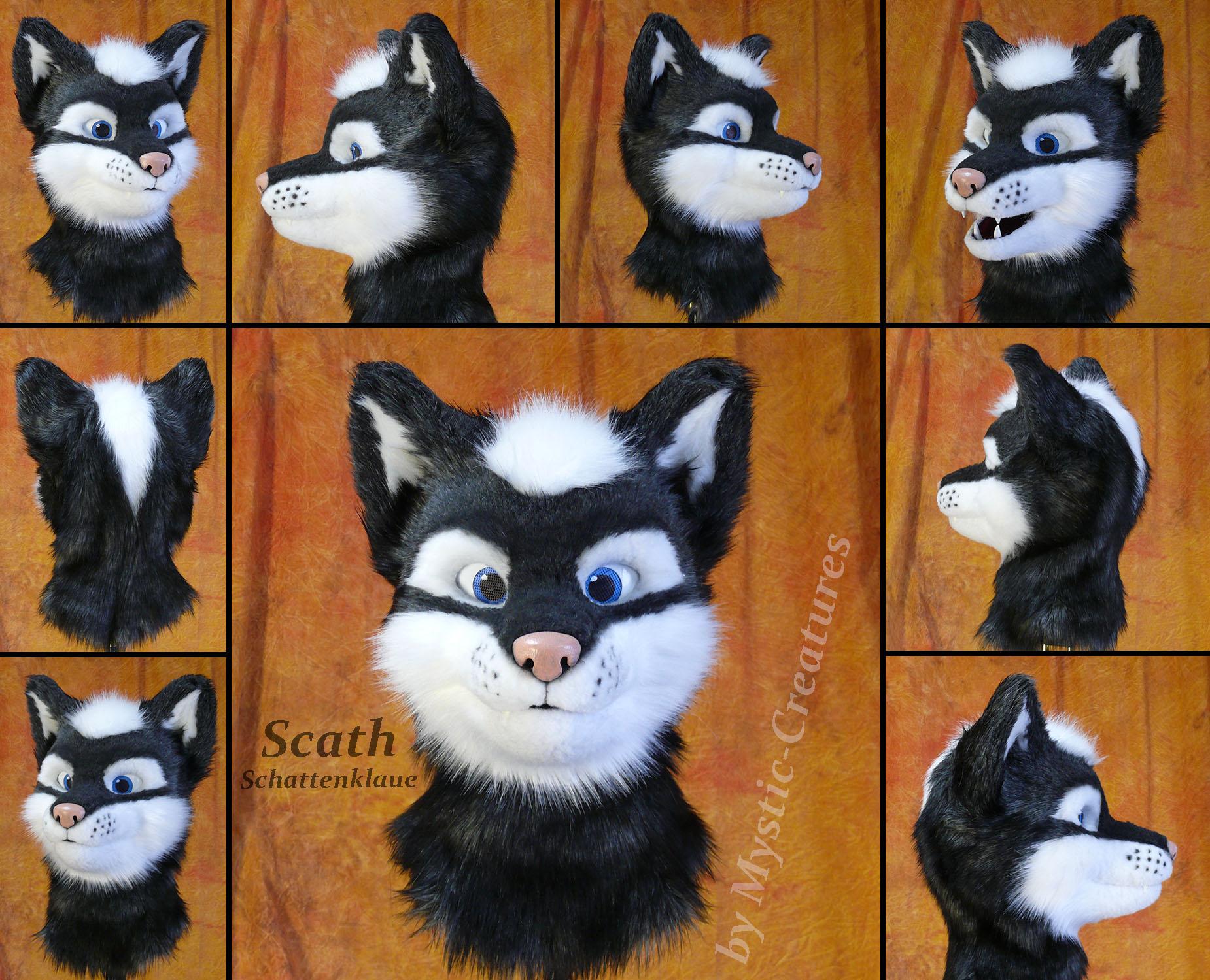 Scath Schattenklaue - Partial fursuit wolf head by Mystic-Creatures