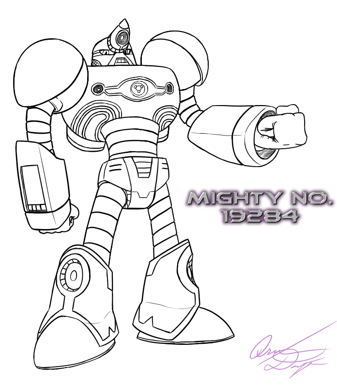 Mighty No. 19284  [Lineart Only] by Qrn103