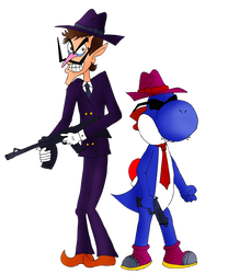Gangsters Waluigi and Boshi by ZeFrenchM