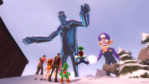 Attack of the Giant BLU Spy and Wario bros