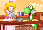 Baking time with Peach and Yoshi by ZeFrenchM