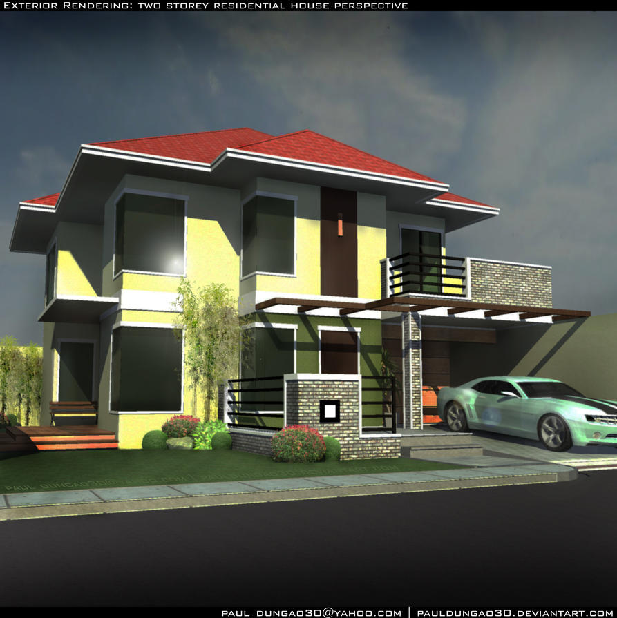Two Storey Residential House With Attic: Two Storey Residential By Pauldungao30 On DeviantArt