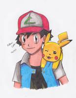 Ash/Satoshi and Pikachu Drawing by Carter4780
