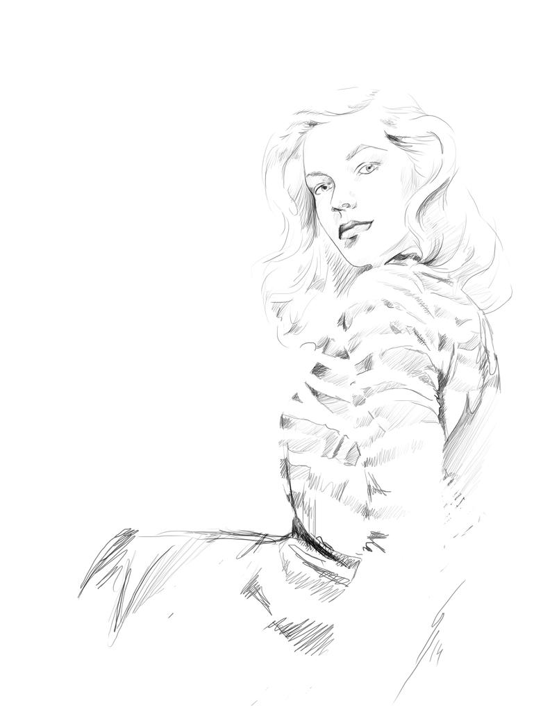 Lauren Bacall - quick sketch by DragonsTrace