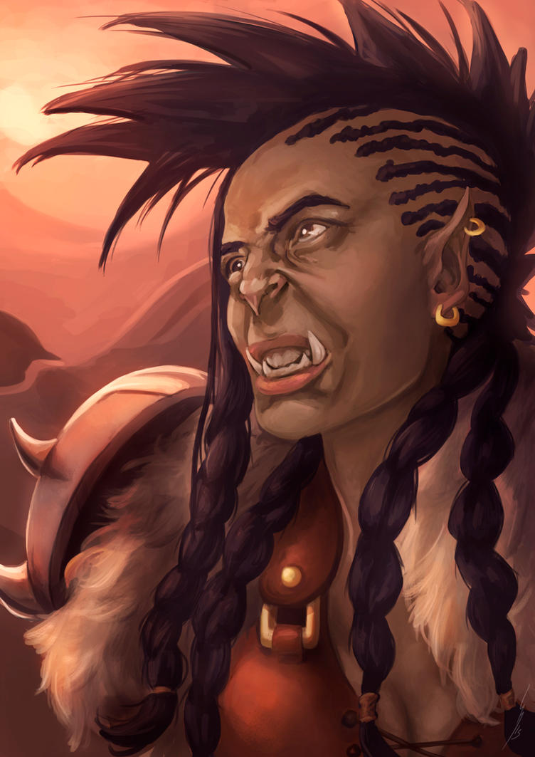 Orc self portrait . Warcraft Style by DragonsTrace