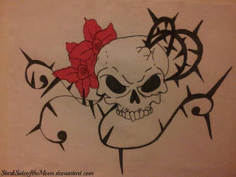 Skull and Flowers by StarkSideoftheMoon