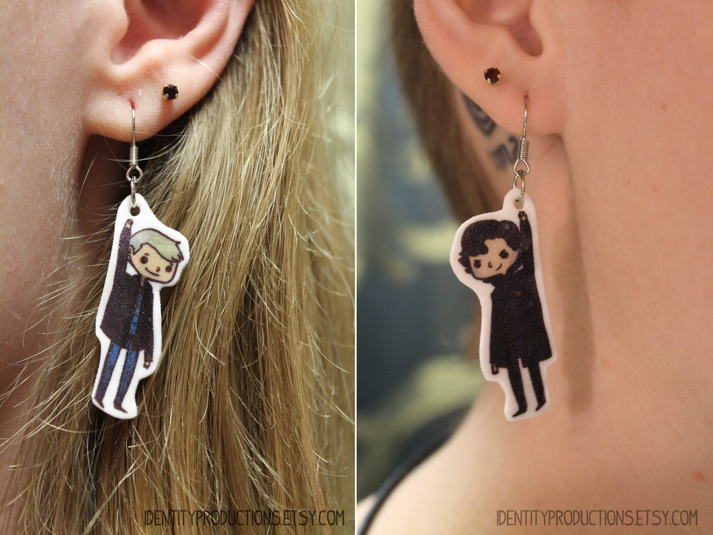 BBC Sherlock and Watson Earrings by IdentityPolution