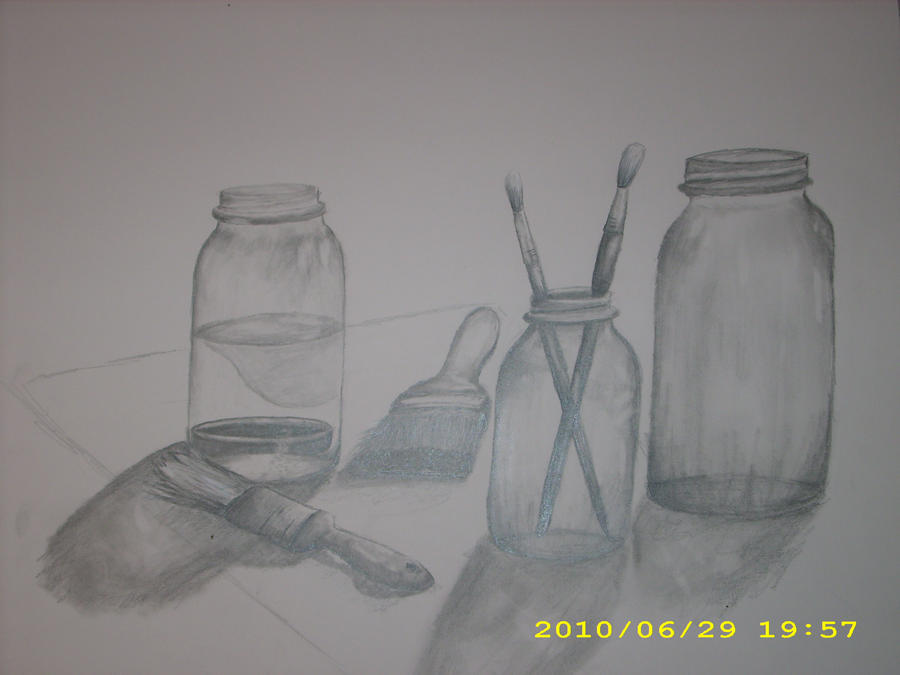 still life drawing. First still life drawing by