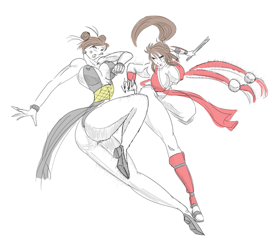 Chun li vs. Mai Shiranui by satoopid