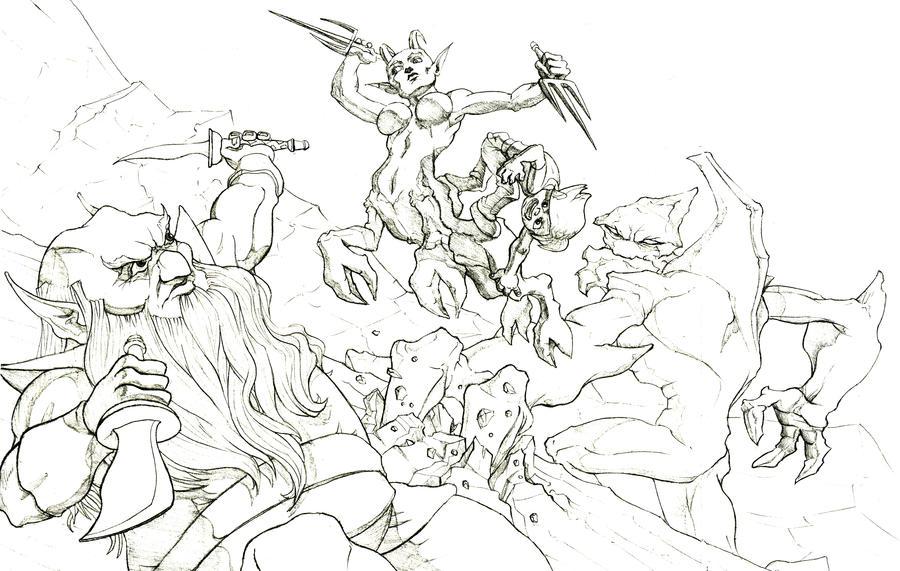 pencil sketch epic battle by jamariquay on deviantart