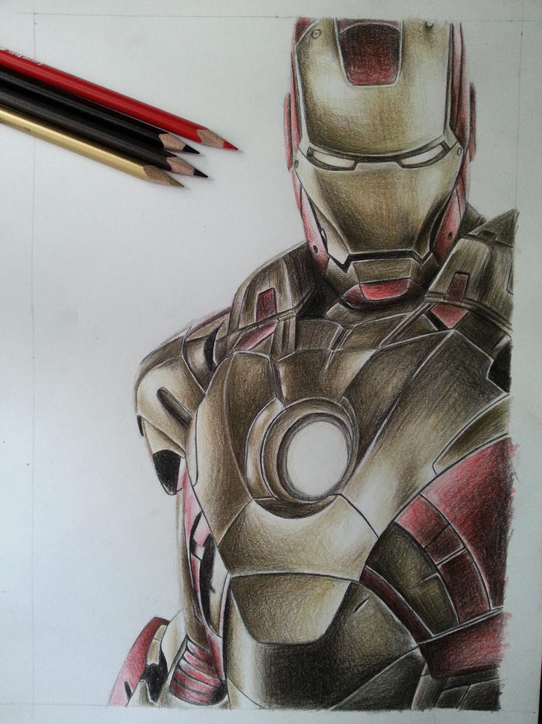Iron man color pencil by DeadArt1 on DeviantArt Iron Man Pencil Drawings