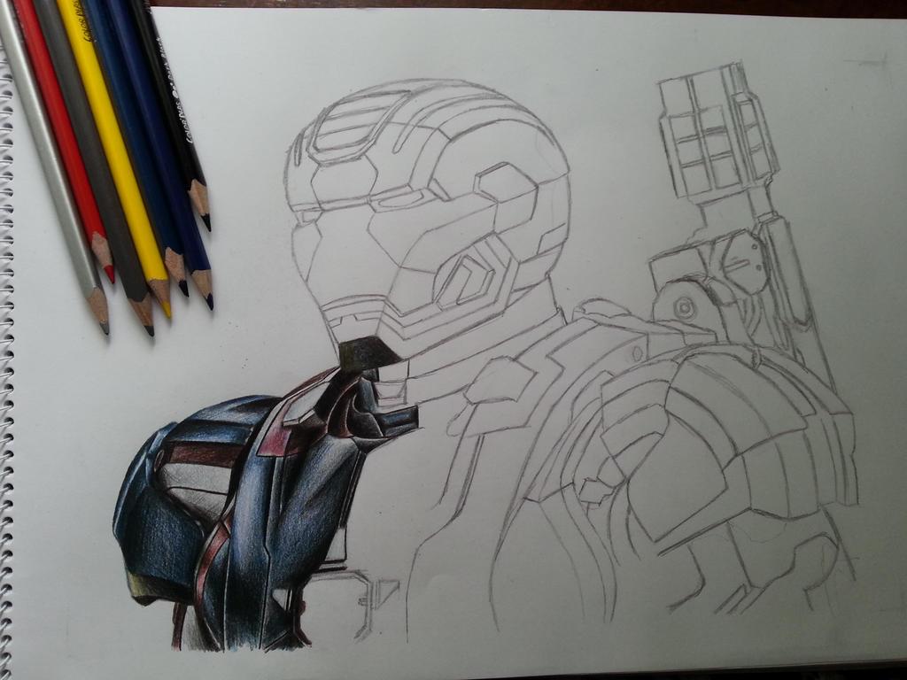Iron Patriot Color Pencil WIP1 By DeadArt1 On DeviantArt