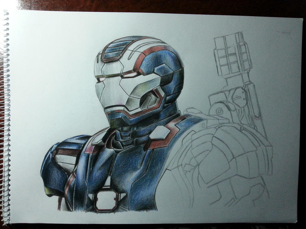 iron patriot color pencil wip2 by deadart1 on deviantart