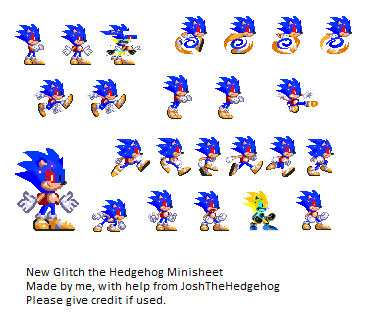 New Glitch The Hedgehog Mini Sprite Sheet (WIP) by BobDaScatcherGuy