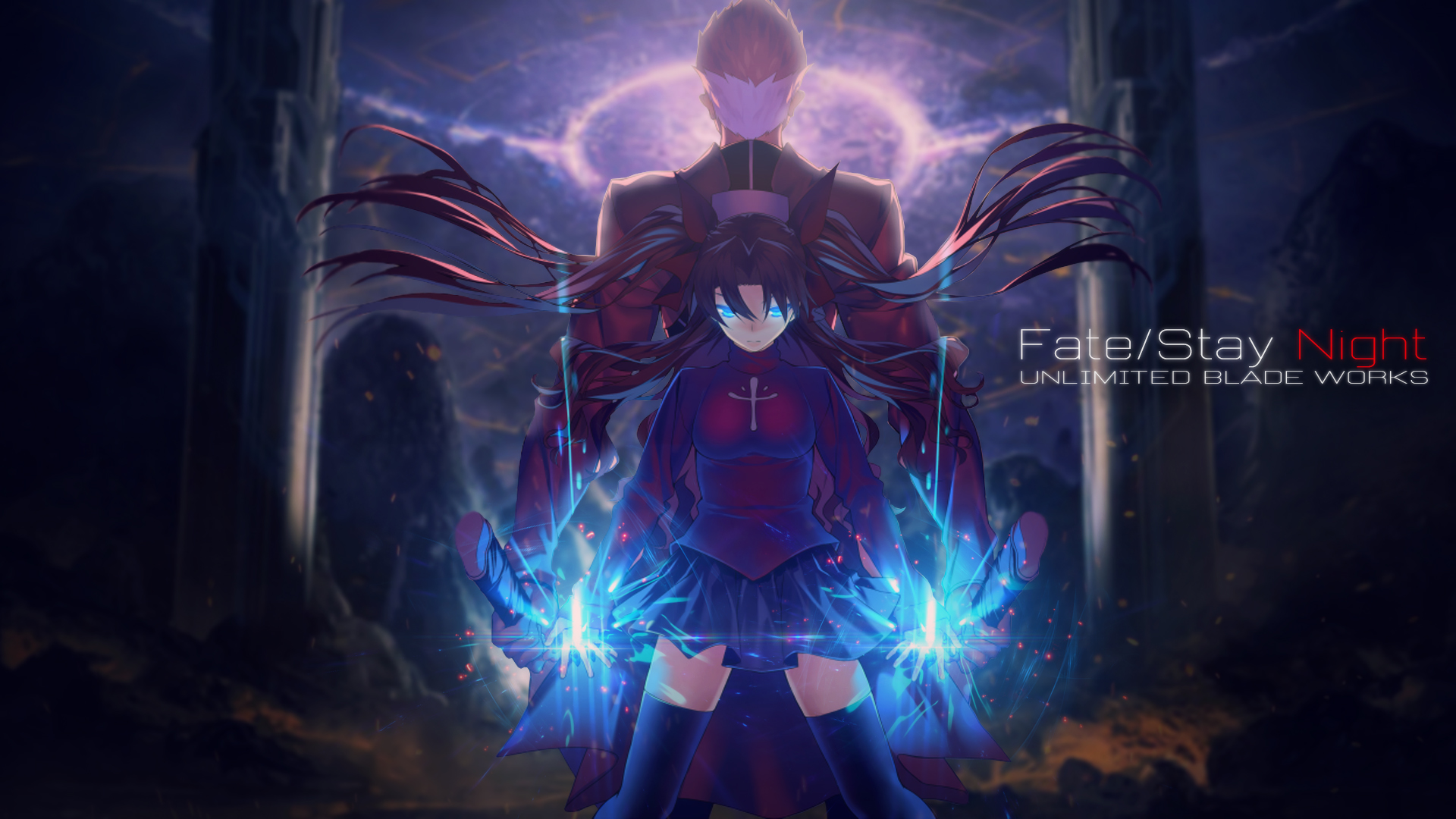 Fate Stay Night Ubw Archer And Rin Wallpaper By Trinexz On