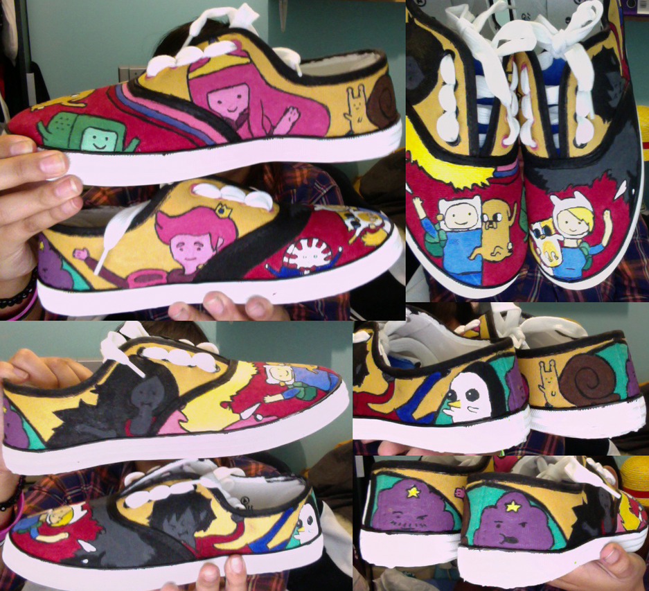 Adventure time shoes (finished) by MyClutteredCave on DeviantArt