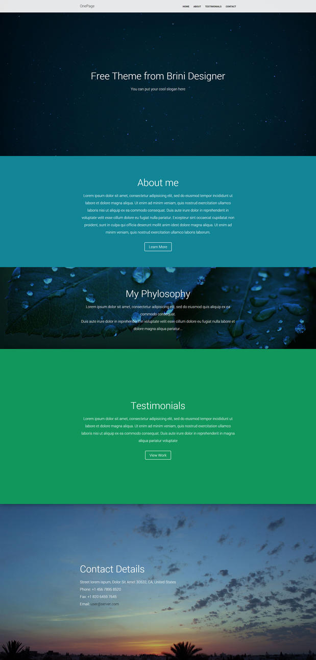 One Page Free Html Template by MrSpecial