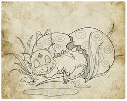 Baby Dragon Lineart by LuisMonterieArt