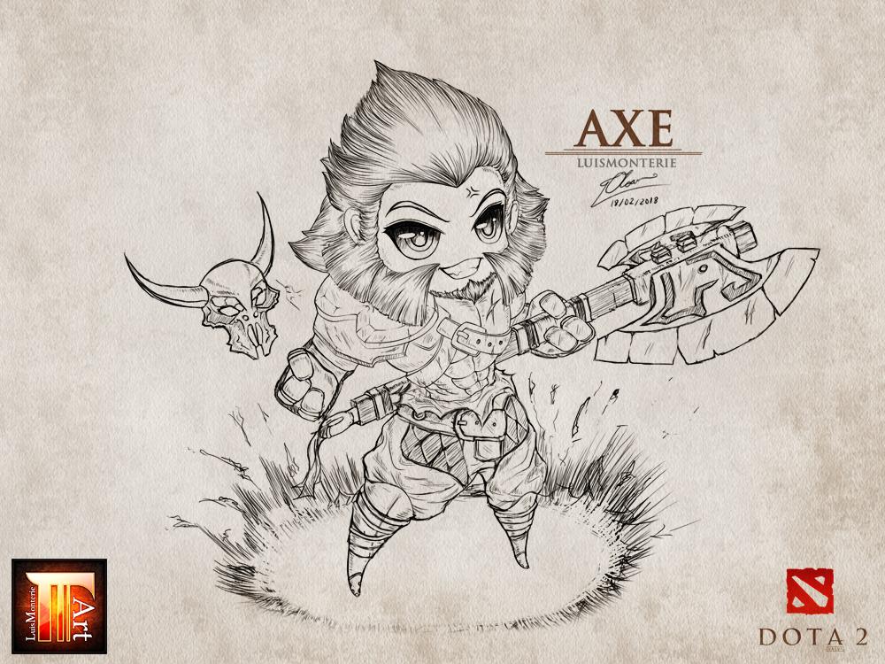 Dota 2 - Axe drawing - chibi by LuisMonterieArt