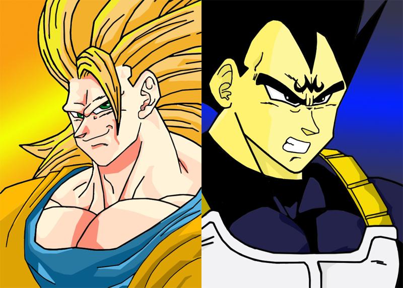 SSJ3 Goku VS Majin Vegeta by VegetasLittleLover on deviantART