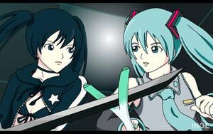 Black Rock Shooter vs Miku by i-n-o-e