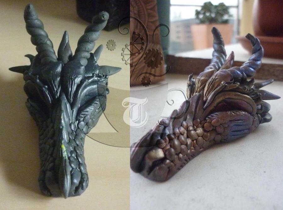 progress shots for dragon head by Tariray